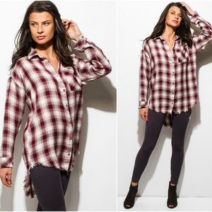 NEW Burgundy and White LS Plaid Button Up Top